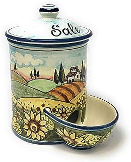 CERAMICHE D'ARTE PARRINI- Ceramica italiana artistica, barattolo sale a scesa decorazione paesaggio girasoli, dipinto a ma...