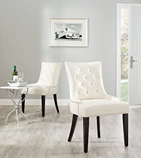 Safavieh Mercer Collection Heather Cream Leather Nailhead Dining Chair, Set of 2