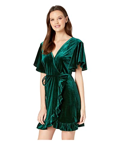 Jack by BB Dakota West Village Velvet Wrap Dress (Hunter Green) Women
