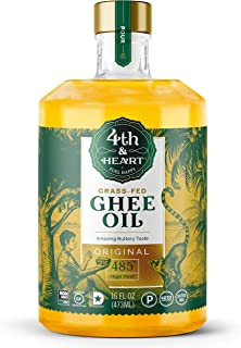 Original Grass-Fed Pourable Ghee Oil by 4th & Heart, High Heat, Non-GMO Verified Hybrid Oil, Certified Paleo, Keto-friendly, Lactose Free, 16 ounce