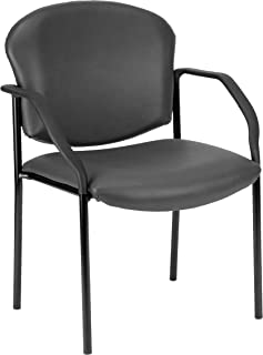 OFM Manor Series Deluxe Vinyl Stacking Guest Chair, Charcoal