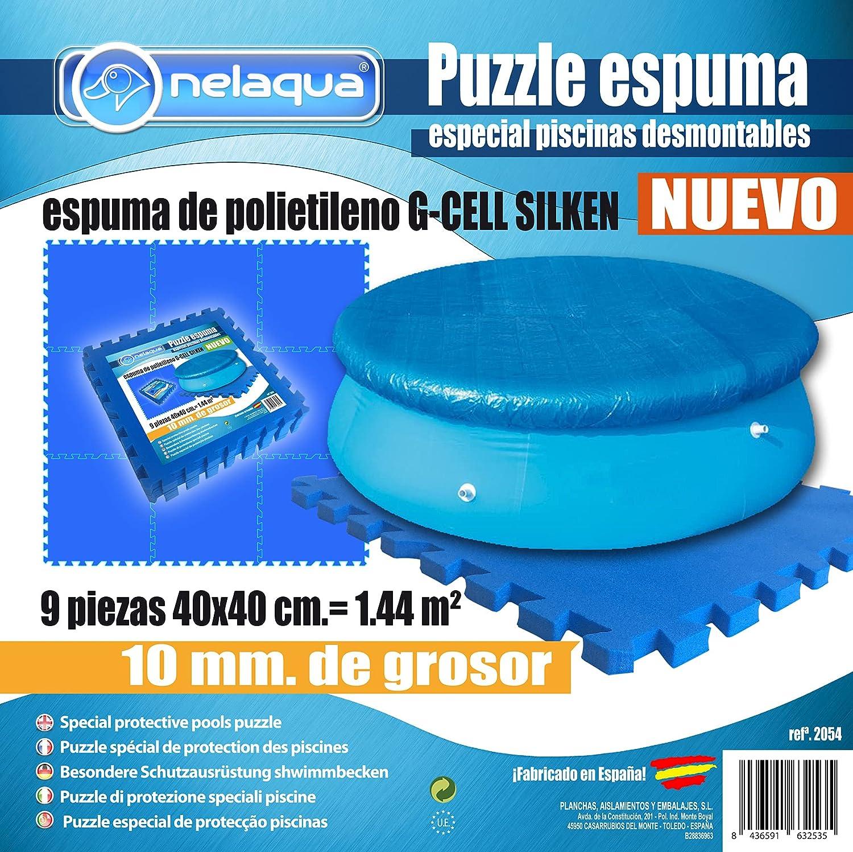 NELAQUA Protector Suelo para Piscina 9 Piezas de 400x400x10mm. Color Azul.