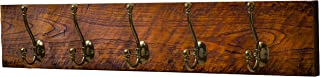 Bleecker Station Rustic Style 5-Hook Wooden Coat Rack, Distressed Dark Brown with Aged Brass Hooks, Solid Wood, Wall Mounted, Vintage Entryway Coat Rack, Large, 30