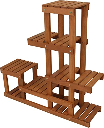 popular Sunnydaze Meranti Wood Indoor/Outdoor Multi-Tiered Plant Stand with Teak Oil Finish - Planter Display Shelves for Balcony, Patio, Deck, Porch, new arrival Sunroom and Living Room sale - 36-Inch online sale