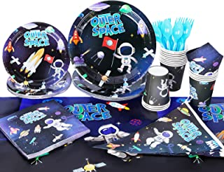 Beauenty 114Pcs Space Astronauts Party Supplies Disposable Tableware Set with Party Banner.Plates.Cups.Napkins.Knifes.Fork...