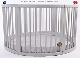 MJmark VERY LARGE Wooden Round PLAYPEN ATLAS QUATTRO with play-mat Grey with white Polk Dots SALE SALE
