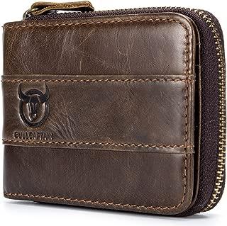 Men's Leather Wallet Zipper Around RFID Blocking Wallets Bifold Multi Card Holder Purse