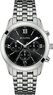 Bulova Classic Sports Men's Quartz Watch with Black Dial Chronograph Display and Silver Stainless Steel Bracelet 96A175