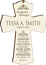 LifeSong Milestones Personalized Graduation Gifts for Graduate Ideas for Men and Women Custom Wall Cross Be Strong and Courageous Joshua 1:9 (4.5