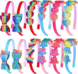 12 Pieces Glitter Heart Headbands Rainbow Girls Star Hairbands Colorful Bow Headbands for Women Girls Hair Accessory