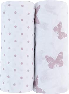 Adrienne Vittadini Bambini Jersey Cotton Bassinet Sheets 2 Pack Butterfly & Dots, Lavender