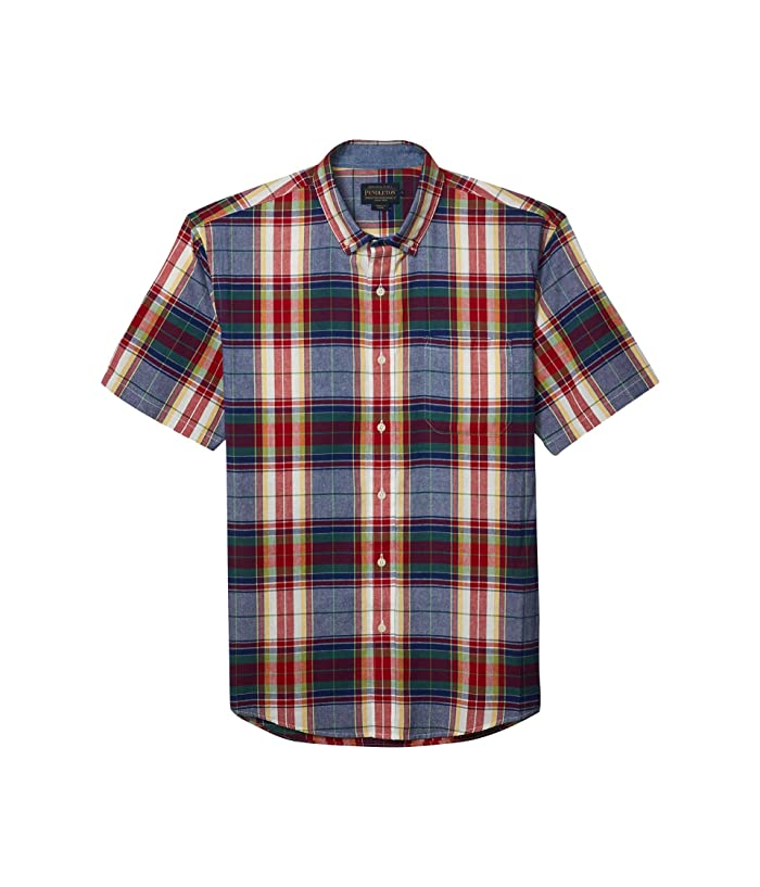 1960s – 70s Mens Shirts- Disco Shirts, Hippie Shirts Pendleton Short Sleeve Madras Shirt BlueRed Multi Plaid Mens Clothing $62.55 AT vintagedancer.com