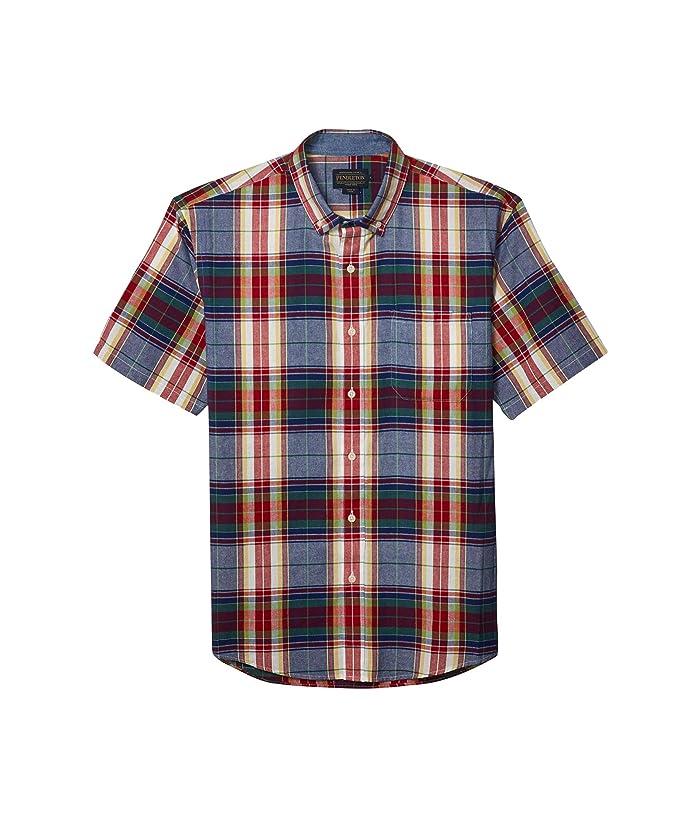 Mens Vintage Shirts – Retro Shirts Pendleton Short Sleeve Madras Shirt BlueRed Multi Plaid Mens Clothing $62.55 AT vintagedancer.com