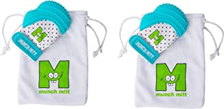 Munch Mitt Teething Toy Stays on Babys Hand is Self-Soothing Entertainment and Gives Pain Relief from Teething plus is Ideal Baby Shower Gift that includes Handy Travel/Laundry Bag– Set of 2 Blue