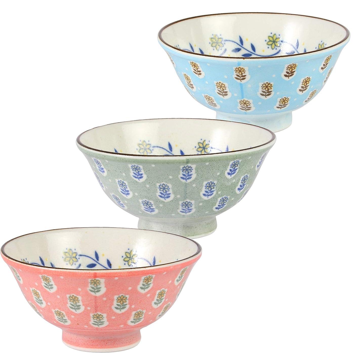 弱いリレーセージみのる陶器 calme 軽量茶碗 リトルフラワー 3色セット