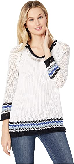 3/4 Sleeve Cotton Yarn Hooded Sweater