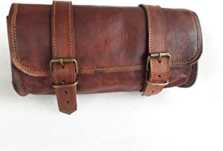 Genuine Leather Vintage Motorcycle 2 Strap Buckle Closure Tool Bag Brown Handlebar Sissy Bar Tool Pouch Roll Bags -10