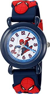 MARVEL Boys Spider-Man Analog-Quartz Watch with Plastic Strap, Blue, 16 (Model: WMA000160