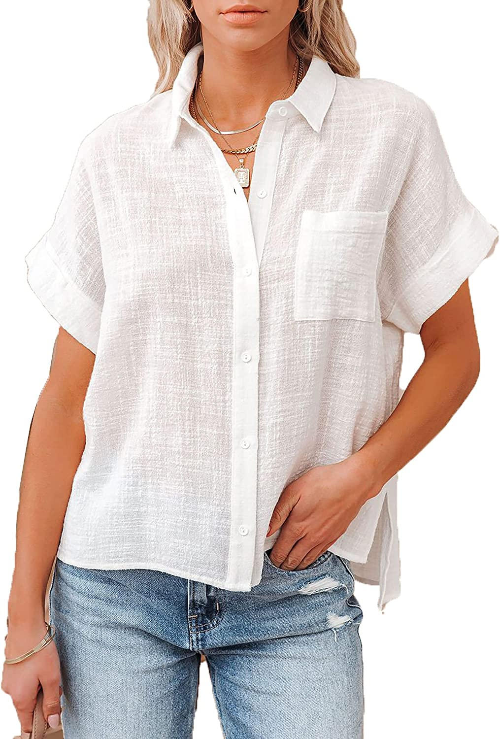Womens Summer Tops Short Sleeve V Neck Button Down T Shirts Cotton Linen Causal Work Collared Blouses with Pockets