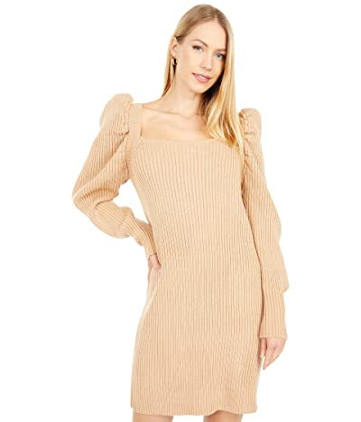 WAYF Puff Sleeve Sweaterdress (Camel) Women