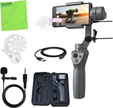 DJI Osmo Mobile 2 Handheld Smartphone Gimbal Stabilizer + Selfie LED Clip-on Cellphone Light + Professional Lavalier Lapel Microphone Vlogging Kit (Renewed)
