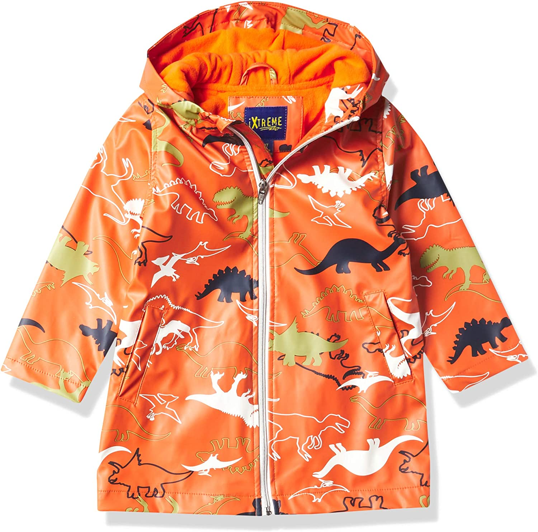 iXtreme Boys' Dino Print Pu Rain Hooded Jacket: Clothing