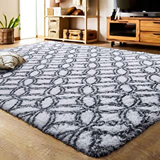 LOCHAS Luxury Velvet Shag Area Rug Mordern Indoor Plush Fluffy Rugs, Extra Soft and Comfy Carpet, Geometric Moroccan Rugs for Bedroom Living Room Girls Kids Nursery (5x8 Feet, Grey/White, HS10)