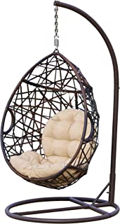 Christopher Knight Home CKH Wicker Tear Drop Hanging Chair, Brown