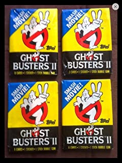 Retro Ghostbusters 1989 Trading Cards (4) Wax Pack Lot Topps Movie Stickers and Cards Non-sport