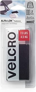VELCRO Brand ALFA-LOK Fasteners with Snap-Lock Technology | Strong, Heavy Duty Hold for Indoor Outdoor Use | Semi-Permanent Mounting, 3 x 1-inch strips, 2 sets, Black