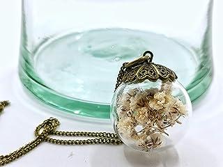 Collana inserimento di fiori bianchi di Gypsophila 25mm - pendente boema con inserimento di fiori naturali secchi - Regalo...