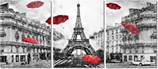 Decor MI Modern Canvas Wall Art France Paris Eiffel Tower Canvas Prints Wall Art Red..