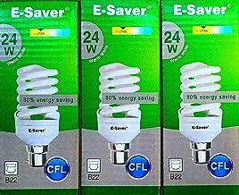 E-Saver - CFL Full Spiral - Energy Saving Light Bulbs - 24w = 120 Watt - (Pack of 3) - Warm White 2700k - Bayonet Cap (BC-...