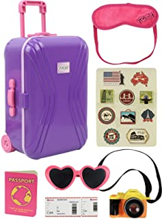 """Click N' Play 18"""" Doll Travel Carry on Suitcase Luggage 7 Piece Set with Travel Gear Accessories, Perfect for 18 inch American Girl Dolls"""