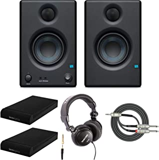 Presonus Eris-E3.5 Studio Monitors (Pair) with Full-Sized Headphones, Knox Gear Isolation Pads and Breakout Cable