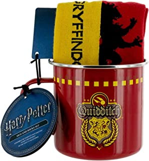 Harry Potter Officially Licensed Merchandise - Gryffindor Quidditch Tin Coffee Mug and Socks Set
