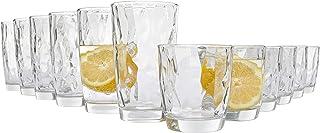 Bluespoon Ensemble de 12verres; capacité des verres universels: 300ml et 400ml; ensemble de verres au design unique...