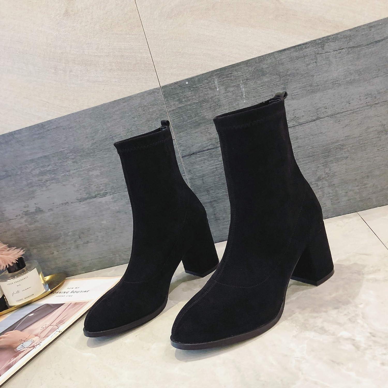 HOESCZS Frauen Schuhe Herbst Und Winter Mode Mode Stretch Velvet High Heel Stiefel High End Runden Kopf Mit Frauen Schuhe  Beste Preise und frischeste Styles