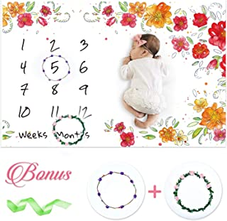 Szelam Baby Milestone Blanket Extra Soft Fleece Baby Monthly Blanket Large Size Photography Background Blanket for Newborn Baby Girl Boy,Flower