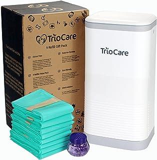 TrioCare Odor Locking Blocking Control Nappy Bin Diaper Pail White   Over 12 Months Refill Bag Supply 3150 Count   Lavende...