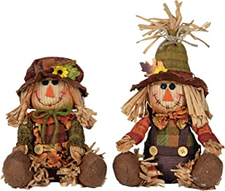 His and Her Plaid Scarecrow Couple 9 x 8 Plush Harvest Shelf Sitter Figurine Set of 2