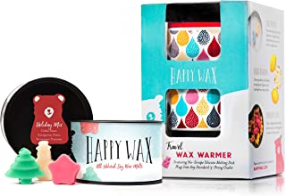 Happy Wax Wax Warmer & Wax Melts Starter Kit - Enjoy Our Patent Pending Outlet Wax Warmer in Classic Leopard + 3.6 Oz. Holiday Mix Soy Wax Melts [Evergreen Trees, Snowman S'Mores, Apple Cider]