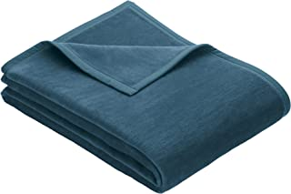 IBENA Plush Solid Color Cotton Blend Queen Bed Blanket Porto - Teal