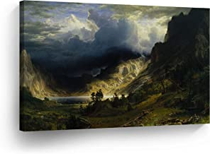A Storm in The Rocky Mountains, Albert Bierstadt Classic Art Canvas Print Famous Fine Art Oil Painting Reproduction Canvas Wall Art Home Decor Stretched Ready to Hang-%100 Made in The USA- 8x12