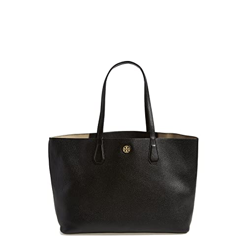 Tory Burch Perry Leather Tote Bag, Black/Beige