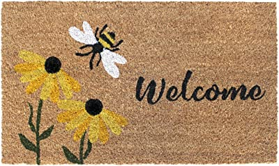 """Rugsmith Multi Welcome Flowers & Bee Machine Tufted Doormat, 18"""" x 30"""", Natural"""