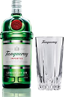 Tanqueray London Dry Gin Imported Set mit Bar Glas, Alkohol, Flasche, 47.3%, 1 L