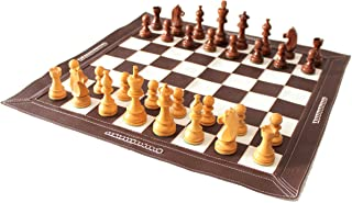 """Stonkraft 19"""" x 19"""" Genuine Leather Roll-Up Tournament Chess Set - with Wooden Chess Pieces - Dark Tan Color"""