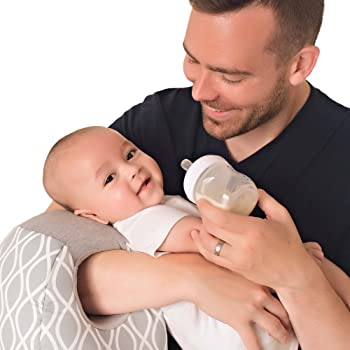 Itzy Ritzy Infant Nursing Pillow - Milk Boss Breastfeeding and Bottle Feeding Pillow and Positioner – Rotates Around Arm to Offer Varying Levels of Cushion and Relieve Arm Strain, Platinum Helix