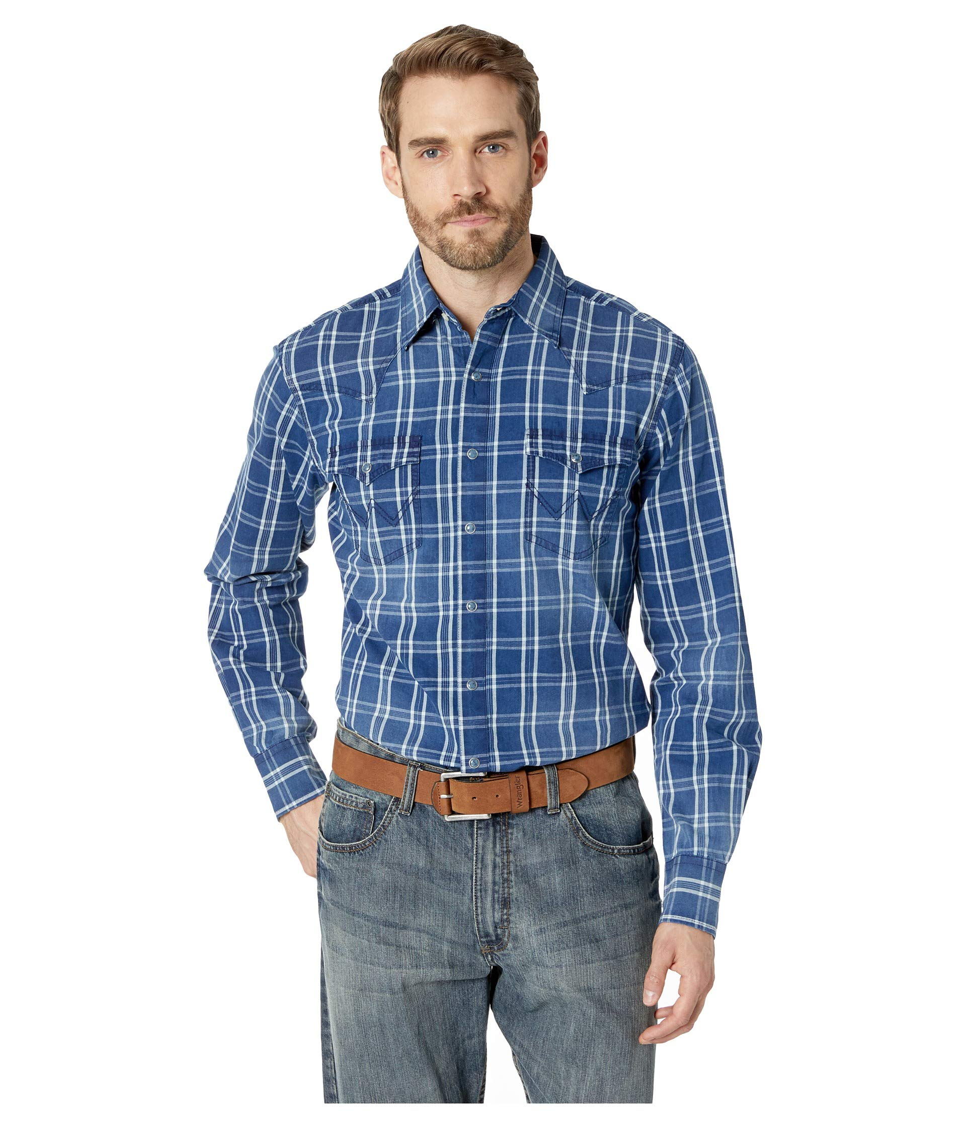 1940s Style Mens Shirts, Sweaters, Vests Wrangler Retro Long Sleeve Snap Plaid Indigo Plaid Mens Clothing $51.00 AT vintagedancer.com